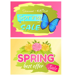 discount 45 off set posters bbutterfly and flower vector image
