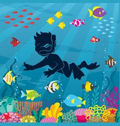 diver boy undersea vector image