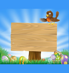 Easter sign with bird and eggs vector