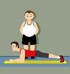 Fitness instructor shows exercise vector