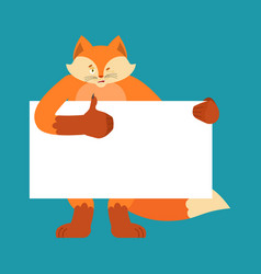fox holding banner blank beast and white blank vector image
