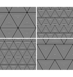 geometric triangles seamless pattern set vector image