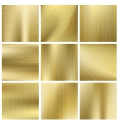 Gold texture set shiny golden yellow vector image