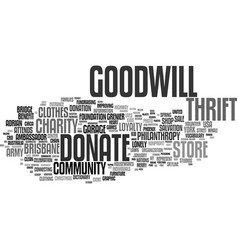 Goodwill word cloud concept vector