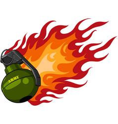 Green grenade with flames vector