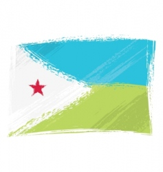 grunge Djibouti flag vector image