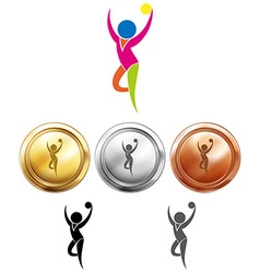 Gymnastics with ball icon and sport medals vector