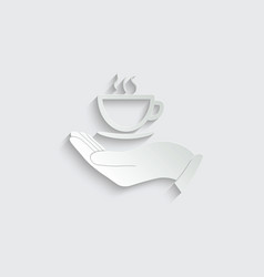 hand icon hold a cup coffee or tea icon logo vector image