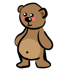 happy little bear on white background vector image