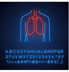 Healthy lungs neon light icon human organ in good vector