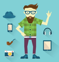 Hipster with hipster elements for design vector