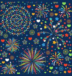 holiday fireworks seamless pattern abstract design vector image