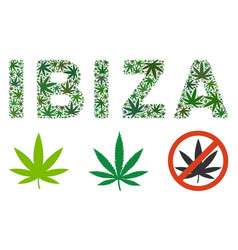 Ibiza label mosaic of weed leaves vector