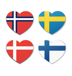 icons of scandinavian flags in shape of hearts vector image