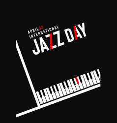 Jazz day poster of black piano key background vector