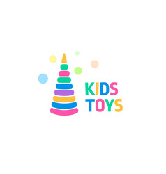 Kids toy abstract colorful cone circles logo vector