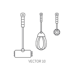 Line flat kitchenware icons - hammer vector