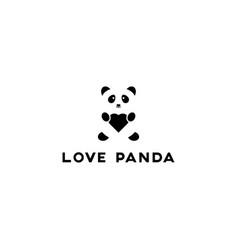 love panda image negative space love panda logo vector image