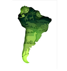 Mainland south america map with wildlife vector