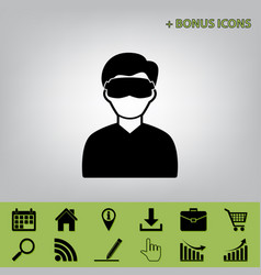 man with sleeping mask sign black icon at vector image