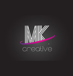 Mk m k letter logo with lines design and purple vector