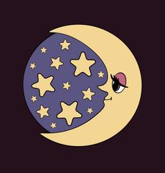 Moon and stars night vector
