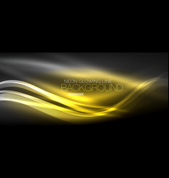 neon elegant smooth wave lines digital abstract vector image