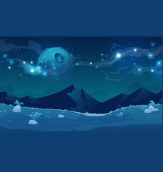 Night landscape with mountains and full moon vector