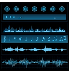 Notes and sound waves vector