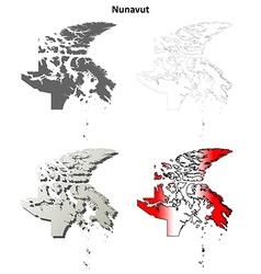 Nunavut blank outline map set vector image