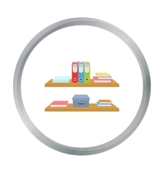 Office shelves with file folders icon in cartoon vector