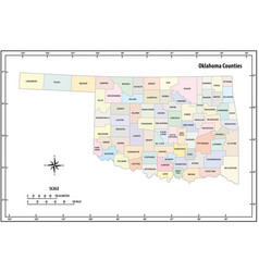 oklahoma state outline administrative map vector image