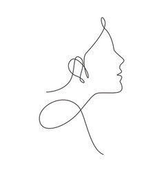 one single line drawing woman beauty abstract vector image