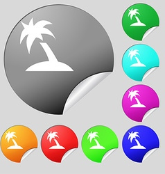 Palm Tree Travel trip icon sign Set of eight vector image