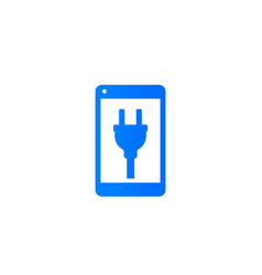 Phone with electric plug on screen icon vector