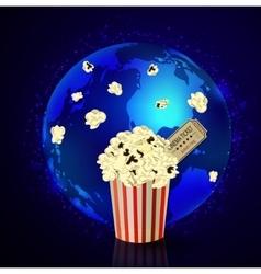 Popcorn and movie ticket vector