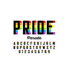 Rainbow flag colors font colorful alphabet vector