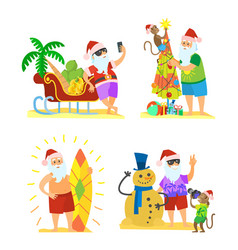 santa claus and monkey decorating umbrella snowman vector image