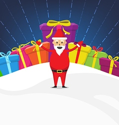 Santa Claus with Gift Box Christmas Celebration vector image
