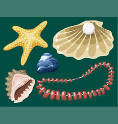 Sea marine animals and shells souvenirs cartoon vector