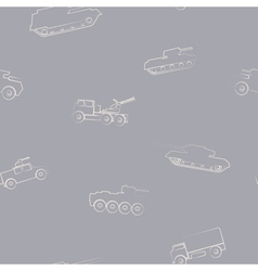 Seamless background with army vehicle vector image