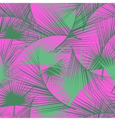 Seamless tropical pattern with green palm leaves vector image