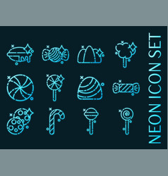 set candy blue glowing neon icons vector image