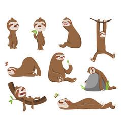 set cute basloth adorable cartoon animals vector image