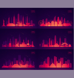 Set north american citie new york chicago phoenix vector