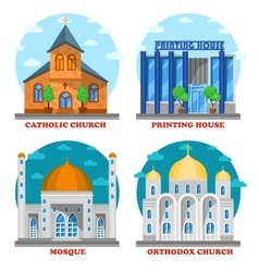 Set of church buildings and printing house facade vector