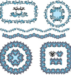 Set of round and oval frames and vintage design vector