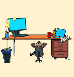 Small businessman under a large office desk vector