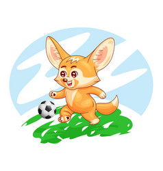 smiling fennec fox plays soccer on a field cute vector image