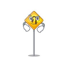 Smirking u turn sign shaped cartoon vector